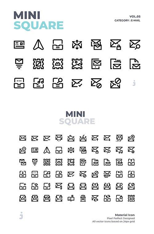 Mini square - 60 E-Mail Vector Icons