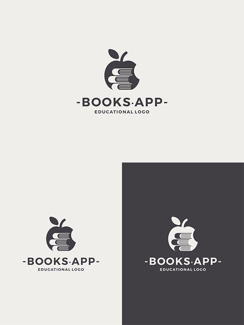 Books Apple Vector Logo