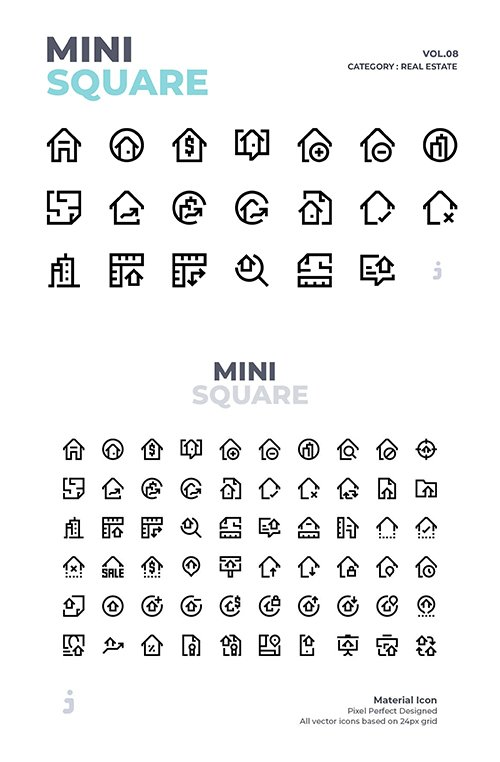 Mini square - 60 Real Estate Vector Icons