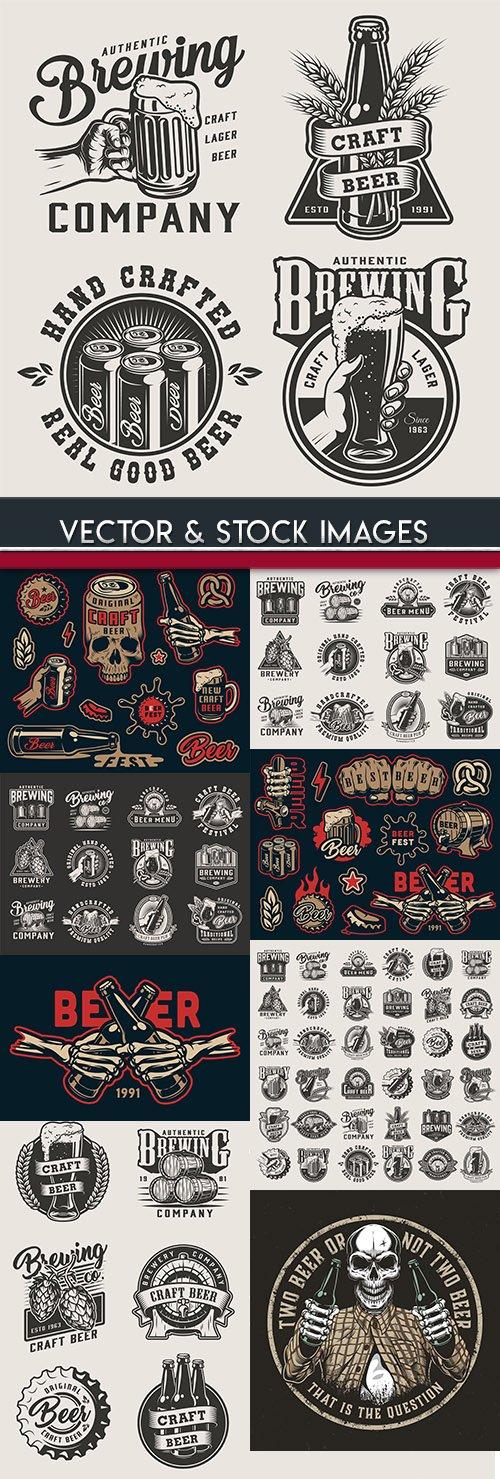 Beer and brewing craft vintage label design