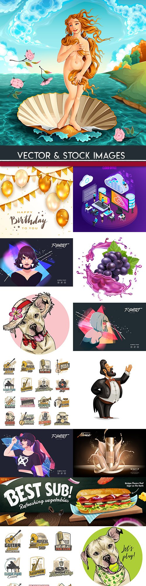 Collection vector illustrations on different subjects 44