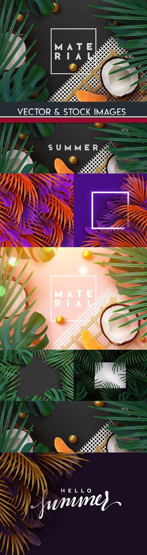 Exotic palm leaf summer 3d template illustration