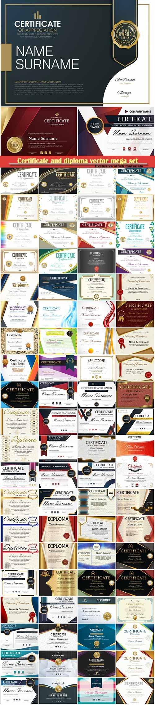 Certificate and diploma vector mega set