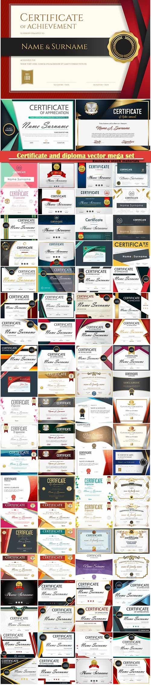 Certificate and diploma vector mega set # 3