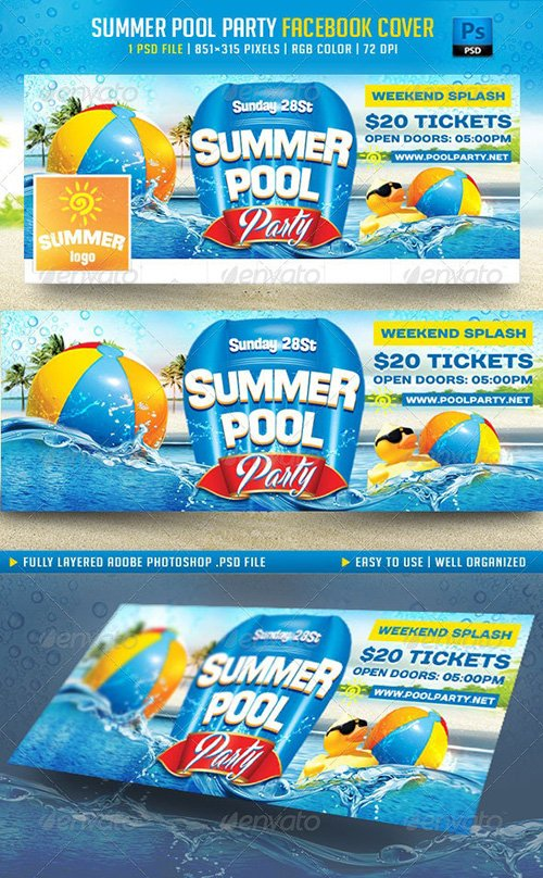 Summer Pool Party Facebook Cover - 8006029