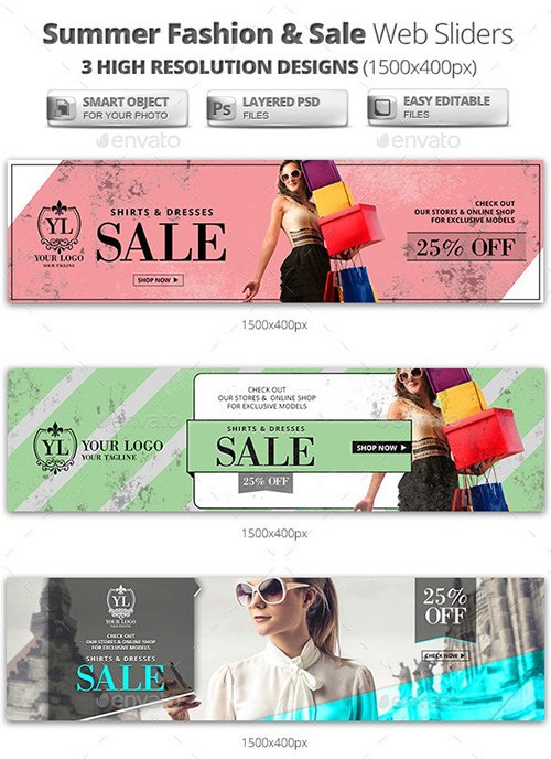 Summer Sale & Fashion Web Sliders 11527101