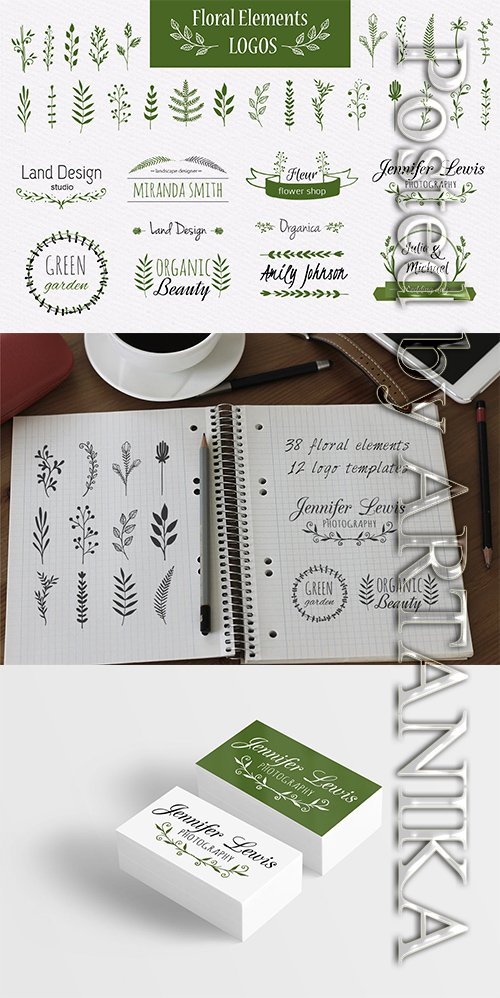 Floral elements and logo templates