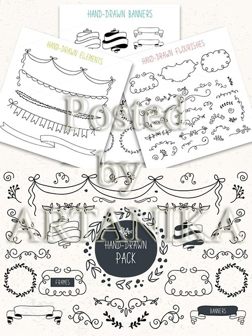 Hand drawn pack. Banners, frames, flourishes