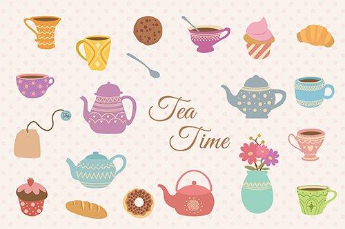 Tea Time Hand Drawn Vector