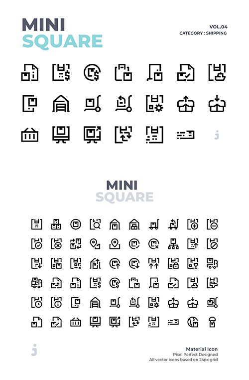 Mini square - 60 Shipping Vector Icons