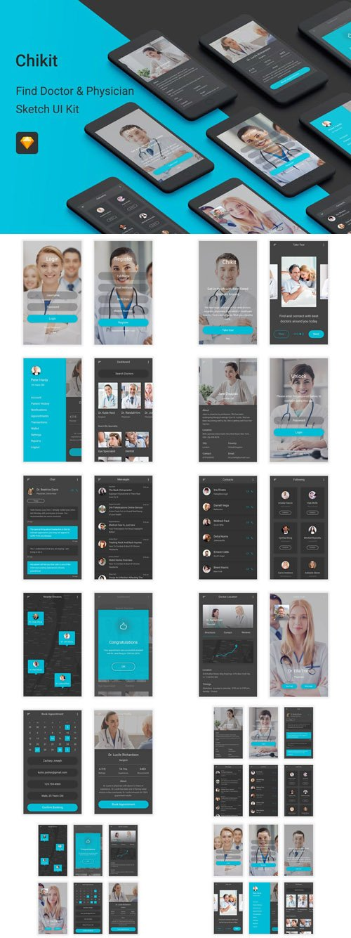 Chikit - Find Doctor & Physician Sketch UI Kit