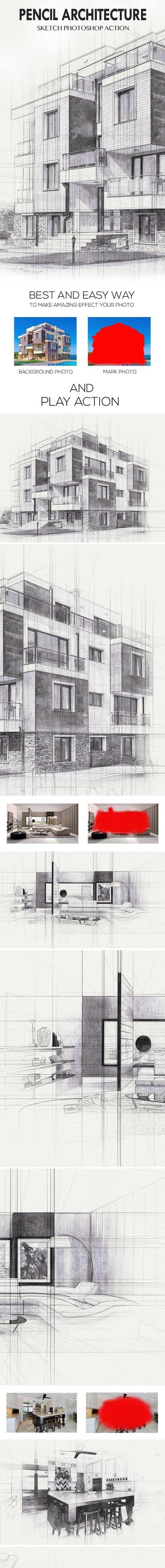Pencil Architecture Sketch Photoshop Action 24029645