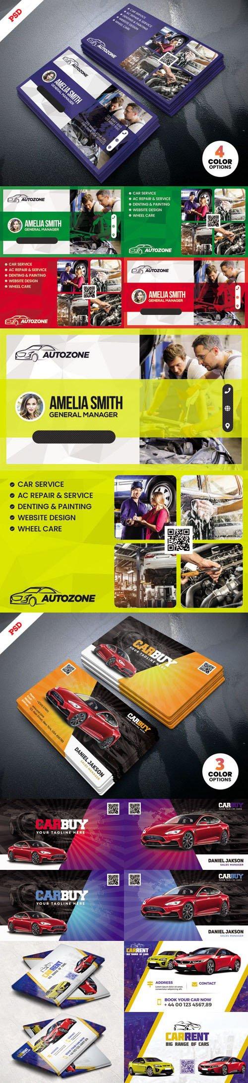 Car Repair Shop & Car Dealer Business Cards Colllection in PSD
