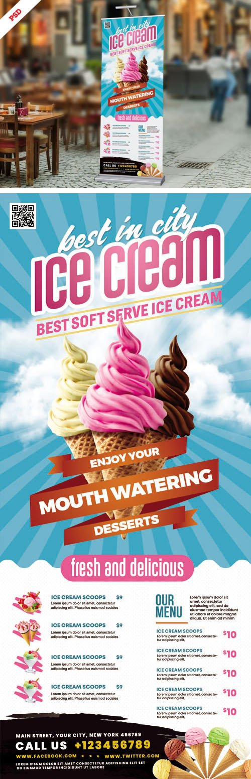 Ice Cream Shop Roll-up Banner PSD Template