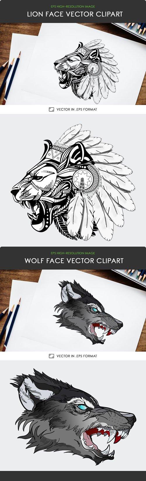 Lion & Wolf Face Vector Clipart