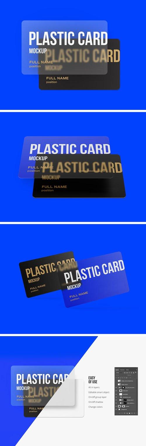 3 Scenes of Plastic Cards PSD Mockups