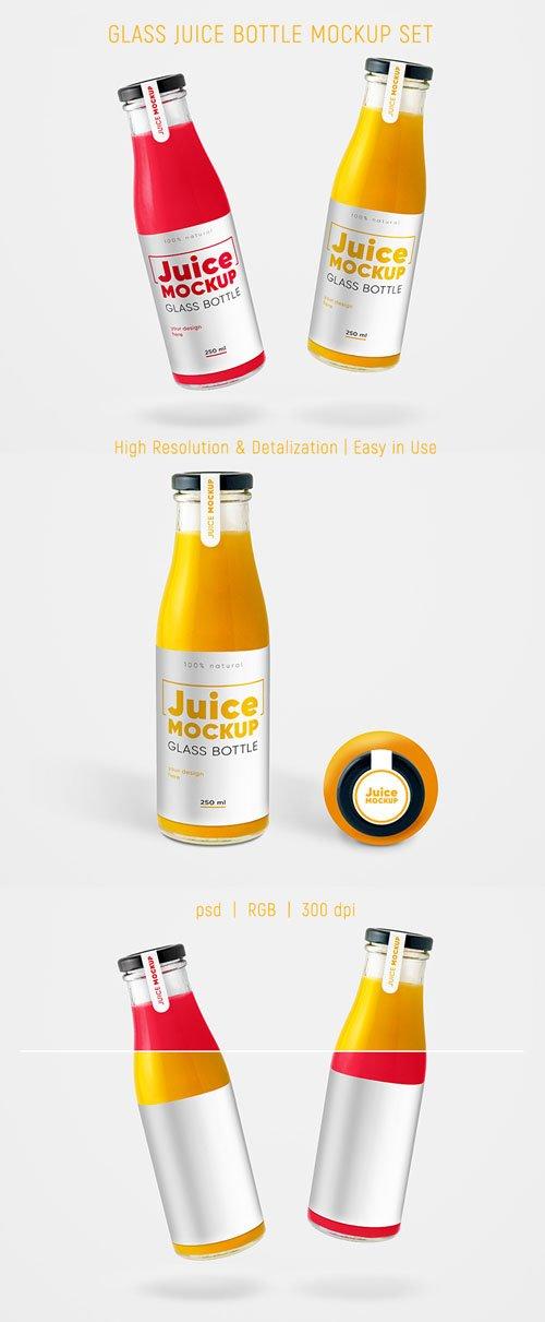 Glass Juice Bottles PSD Mockups