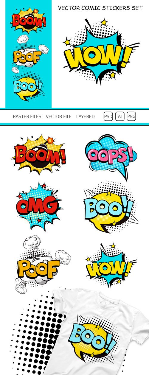 6 Comic Stickers in Vector