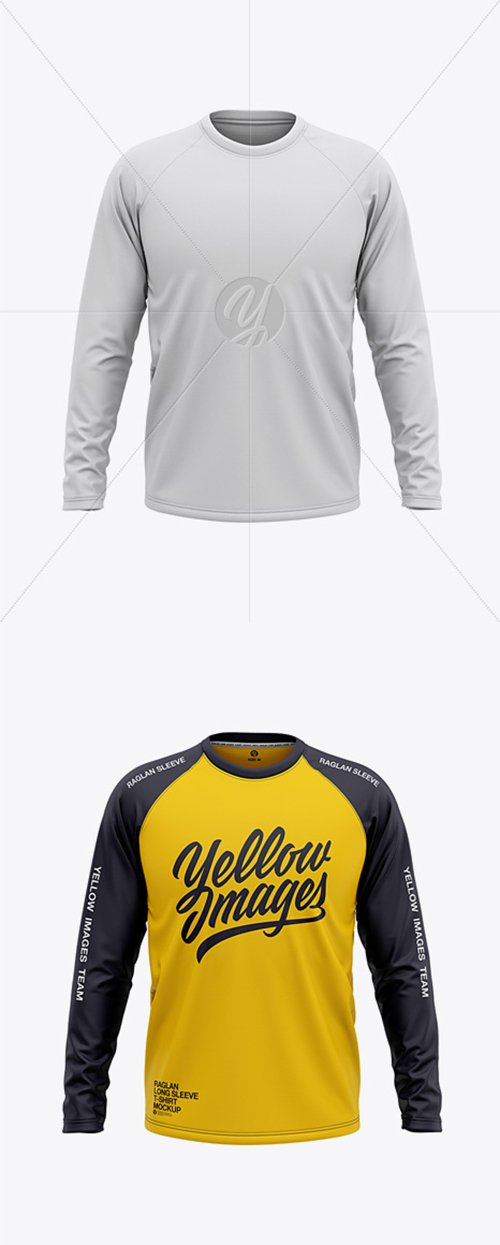 Men's Raglan Long Sleeve T-Shirt Mockup - Front View 38285 TIF