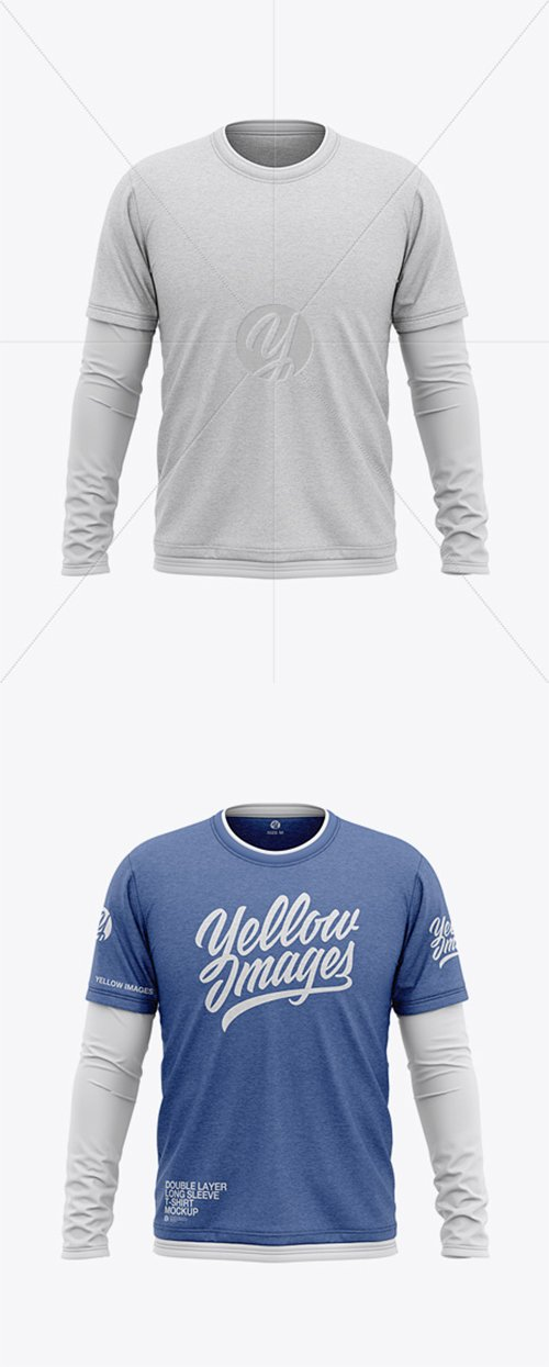 Men's Heather Double-Layer Long Sleeve T-Shirt Mockup - Front View 38030 TIF
