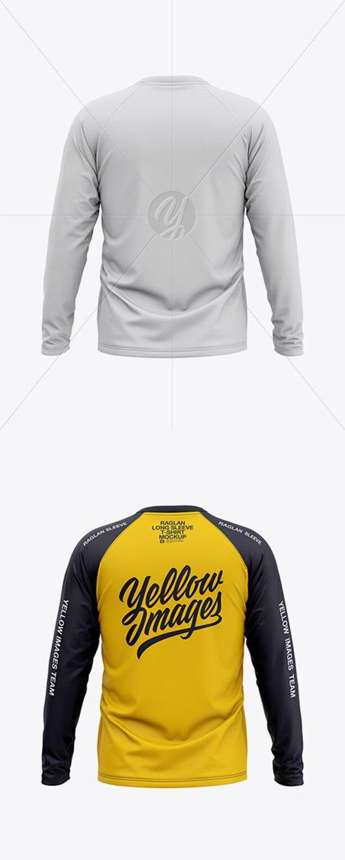 Men's Raglan Long Sleeve T-Shirt Mockup - Back View 38286 TIF