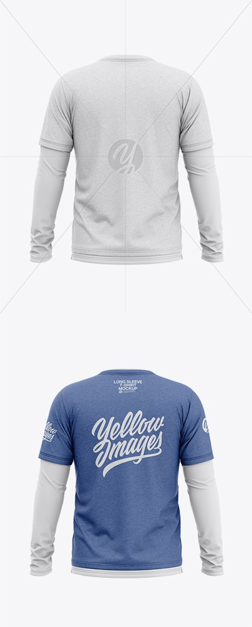 Men's Heather Double-Layer Long Sleeve T-Shirt Mockup - Back View 38039 TIF