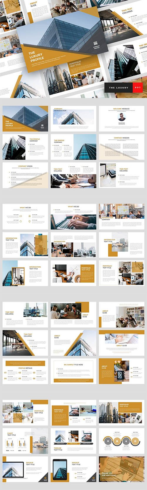 The Luxury - Pitch Deck Powerpoint, Keynote and Google Slides Templates