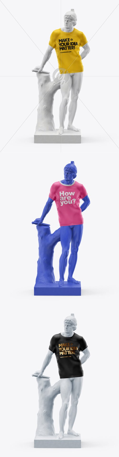 Mans Statue Wearing a T-Shirt Mockup 37034 TIF