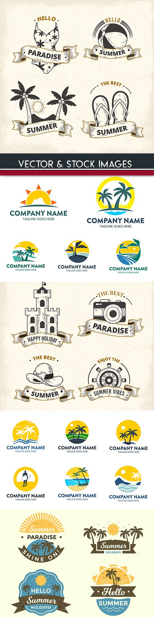 Summer labels and logos emblems collection design
