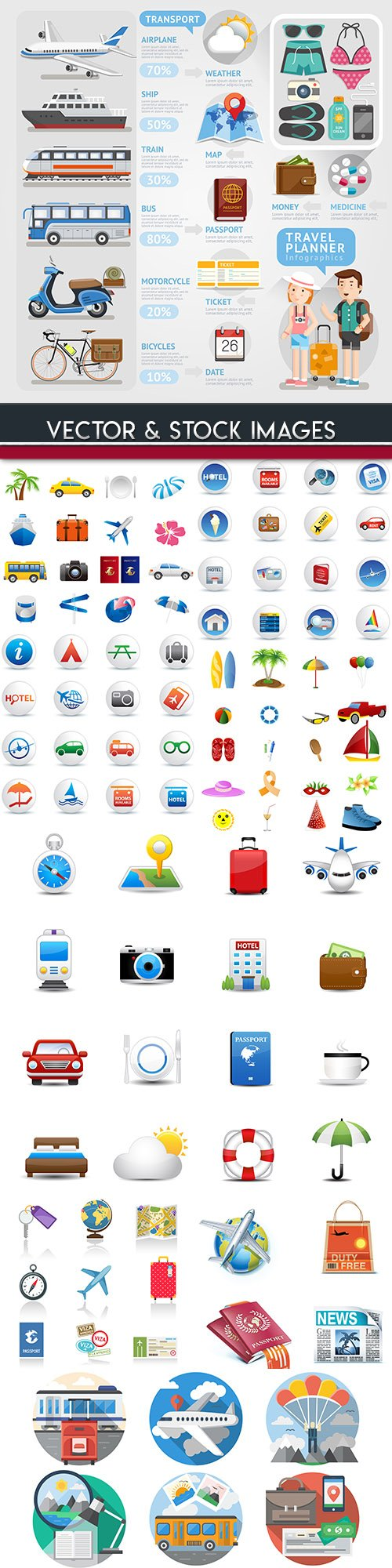 Summer travel sea collection icons design