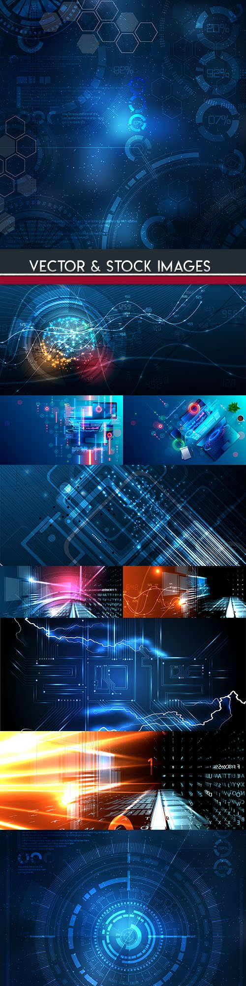 Technology future abstract background blue 6