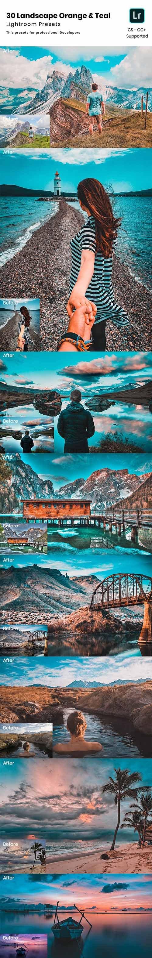 30 Landscape Orange & Teal Lightroom Presets 24075640