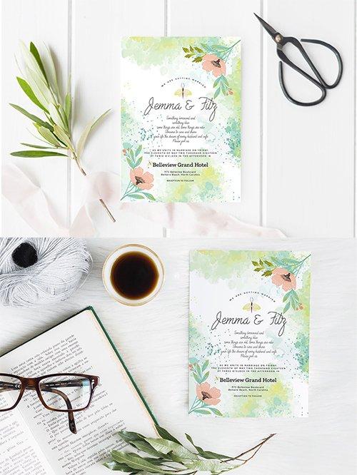 Lime Floral Wedding Invitation
