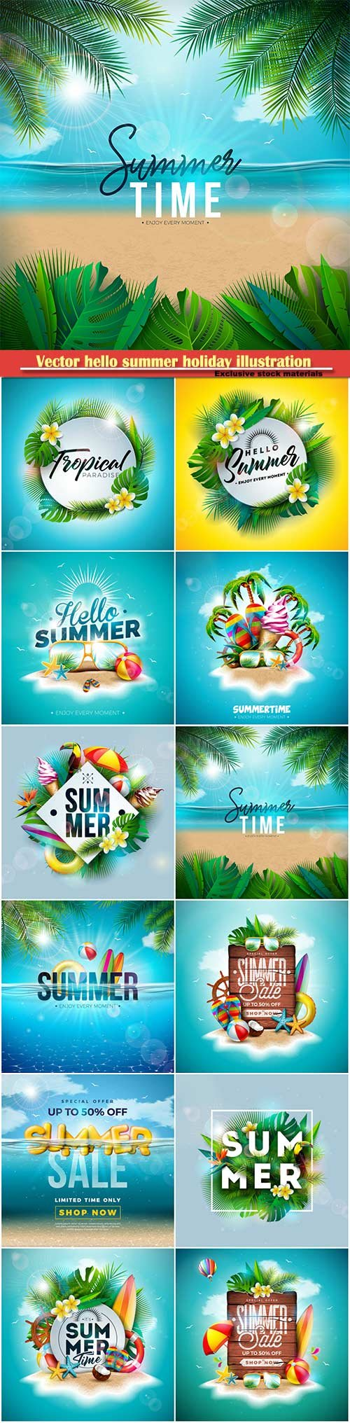 Vector hello summer holiday illustration # 4