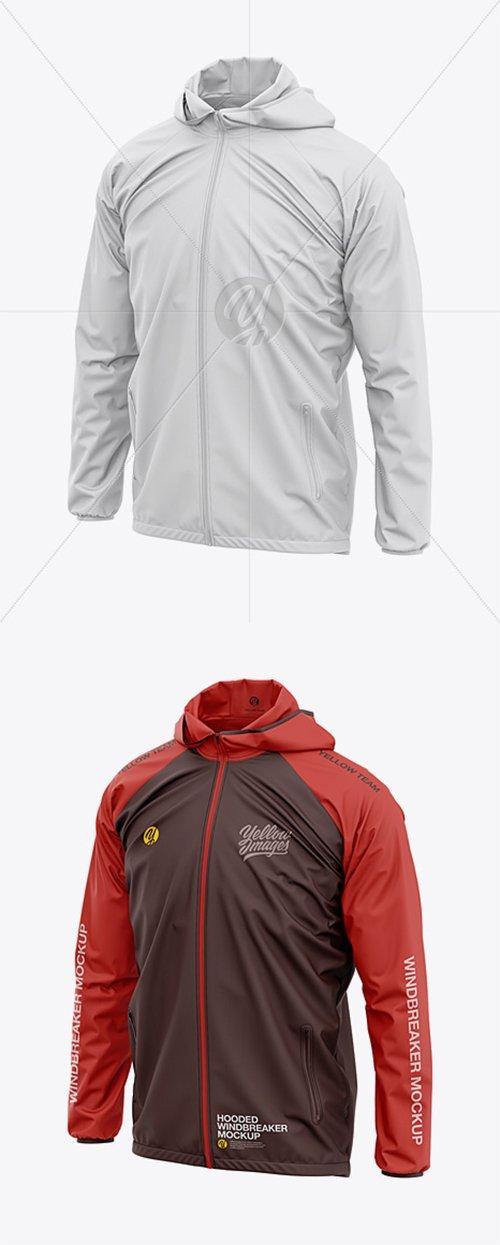 Men's Lightweight Hooded Windbreaker Jacket - Front Half-Side View 36334