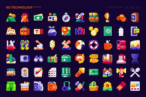 60 Travel Vector Icons