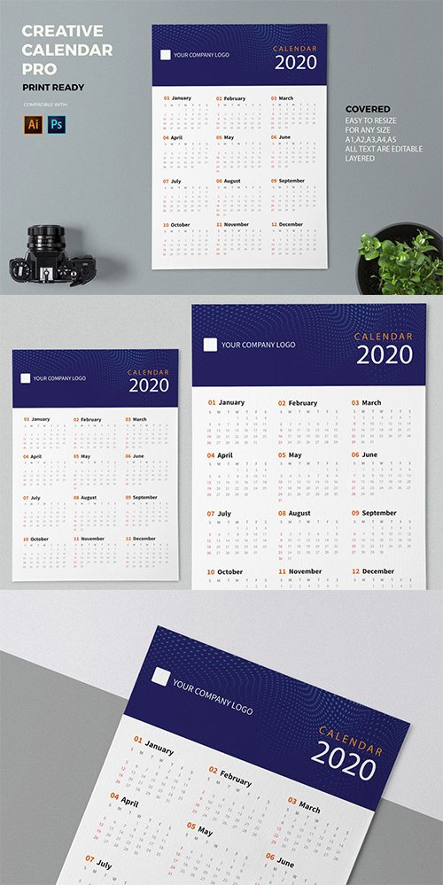 Creative Calendar Pro 2020 PSD and AI