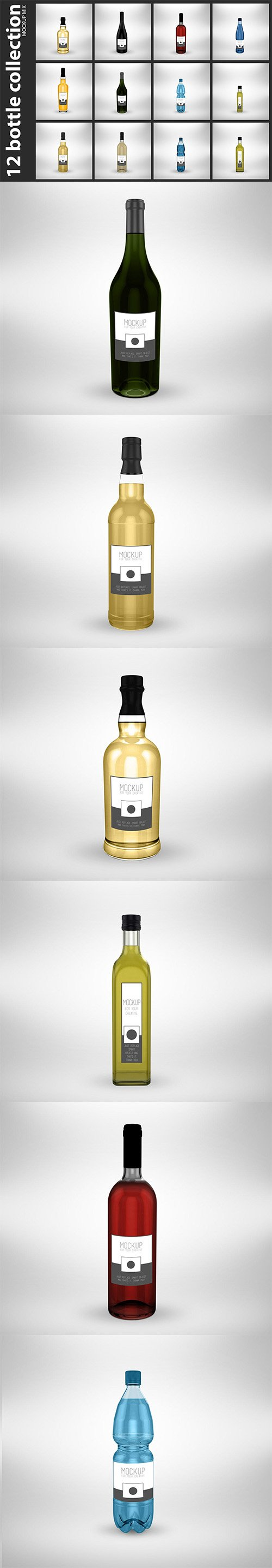 12 Bottle Collection PSD Mock Up