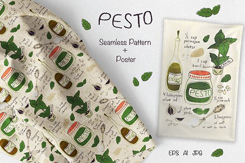 Pesto Recipe Fabric and Tea Towel Vector