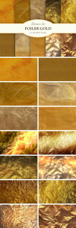 14 Foil & Paper Gold Textures Set