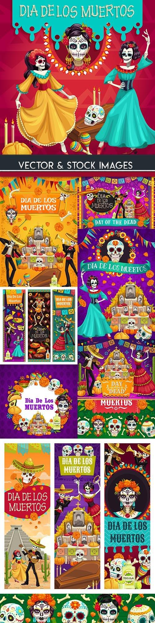 Mexico dead day celebration tradition illustration