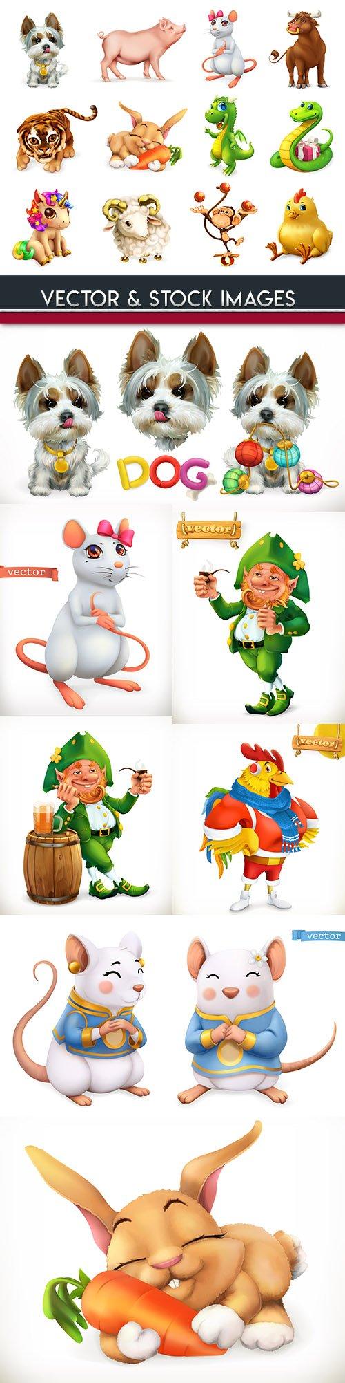 Zodiac signs and animals cartoon 3d illustration