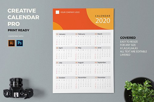 Creative Calendar Pro PSD and AI 2020