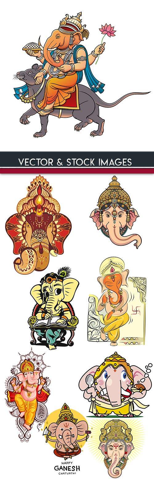 Happy Ganesh Chaturthi Indian culture illustration