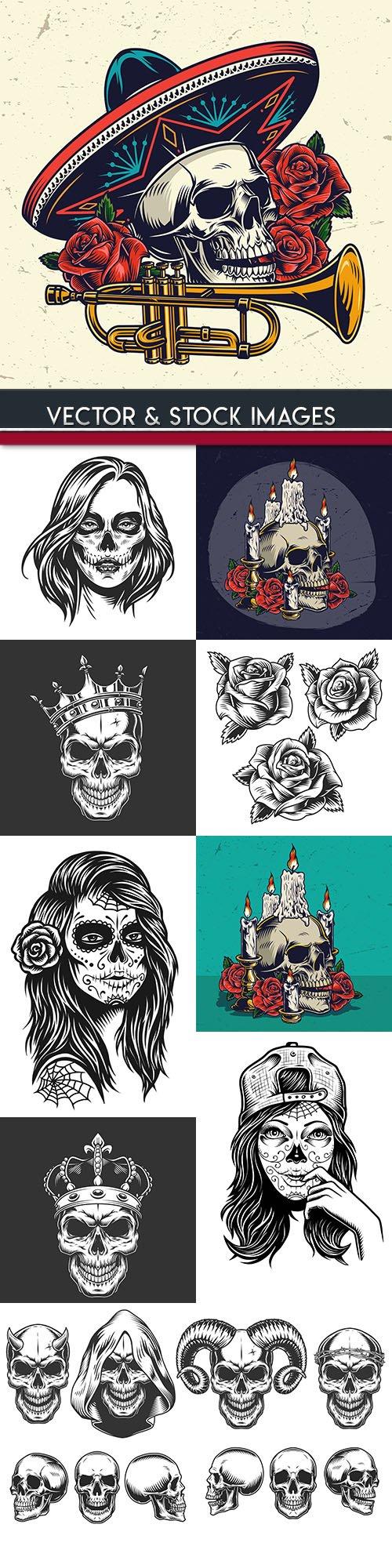 Skull and dead head tattoo grunge illustration