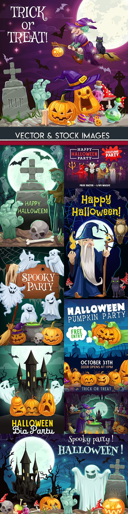 Happy Halloween holiday cartoon illustration collection 22