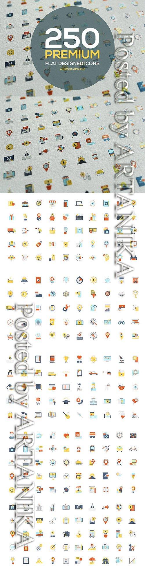 Set of Modern Color Flat Design icons