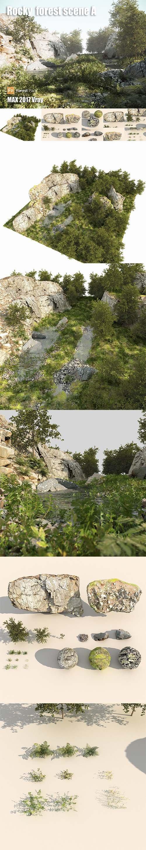 Rocky forest scene A 3D model