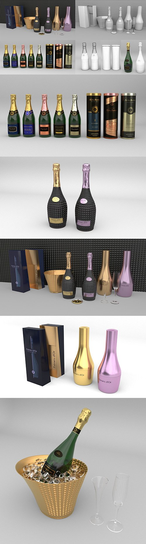 Nicolas Feuillatte All Champagne Bottles and Packages Pack 3D Model Collection