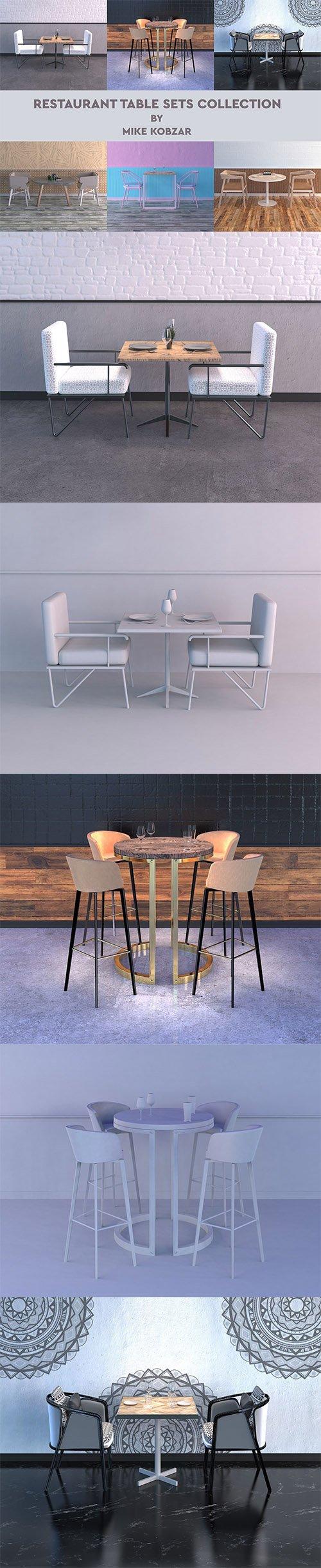 RESTAURANT TABLE SETS COLLECTION 3D model